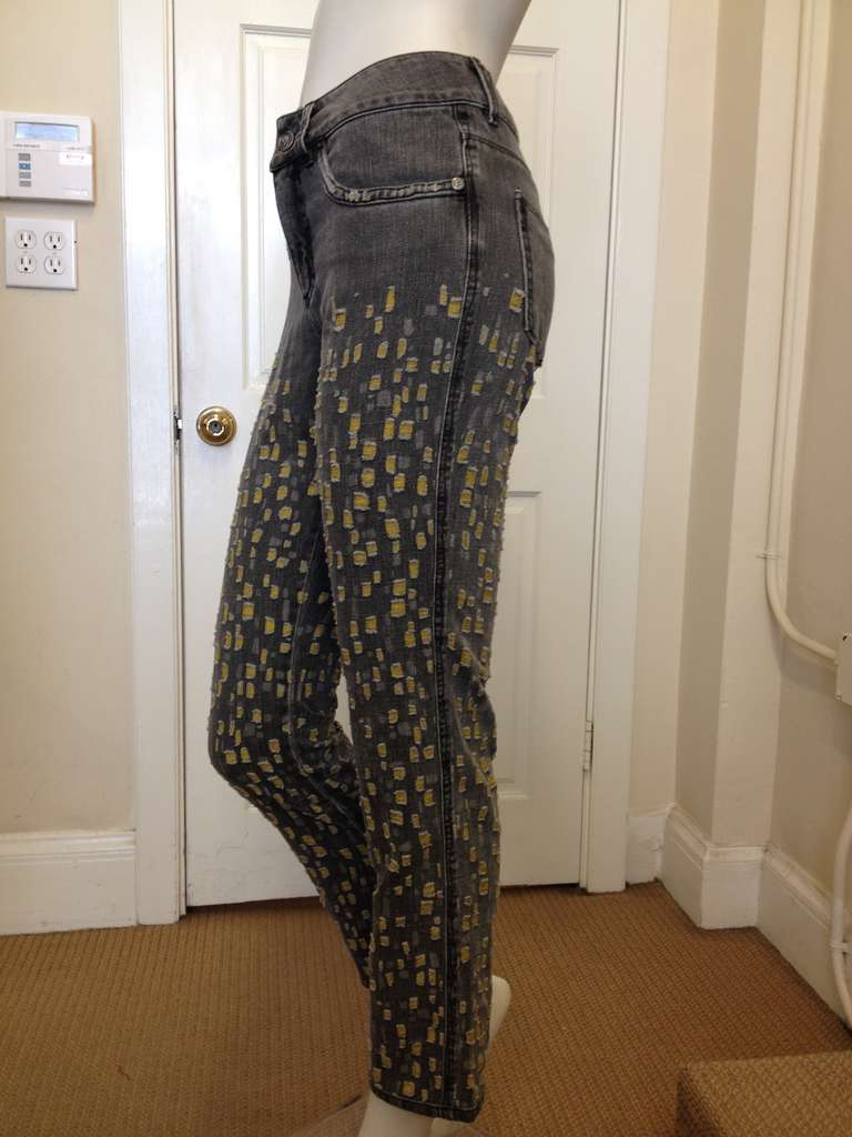 Black Chanel Gray with Yellow Jean For Sale