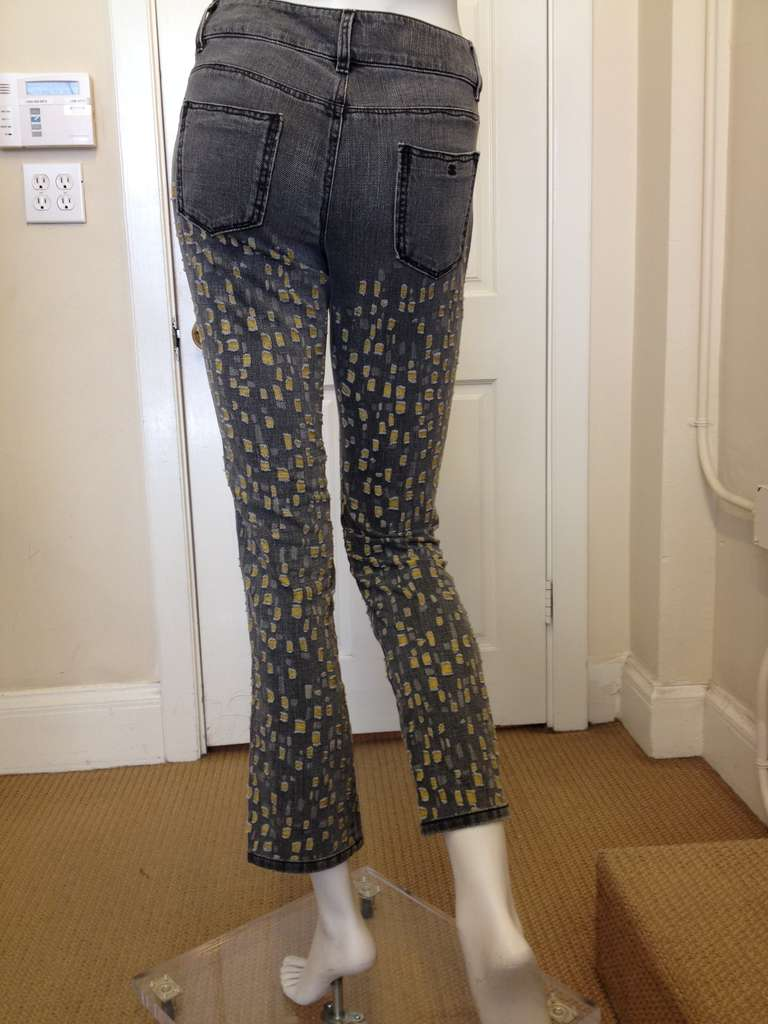 Chanel Gray with Yellow Jean In Excellent Condition For Sale In San Francisco, CA