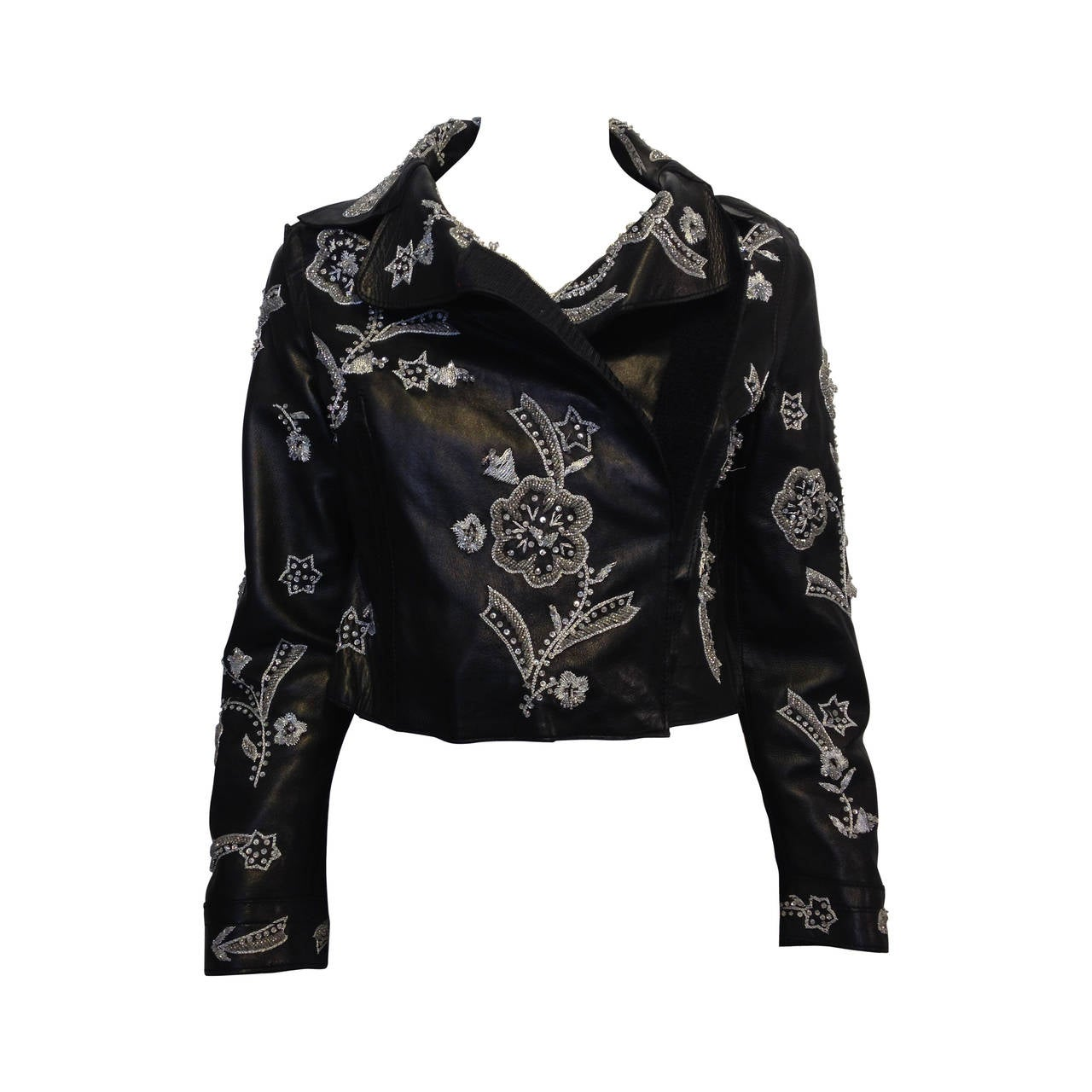 Dolce & Gabbana Black Leather Jacket with Silver Beading 1