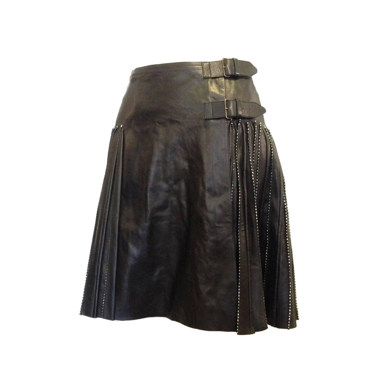 alaia black leather pleated skirt at 1stdibs