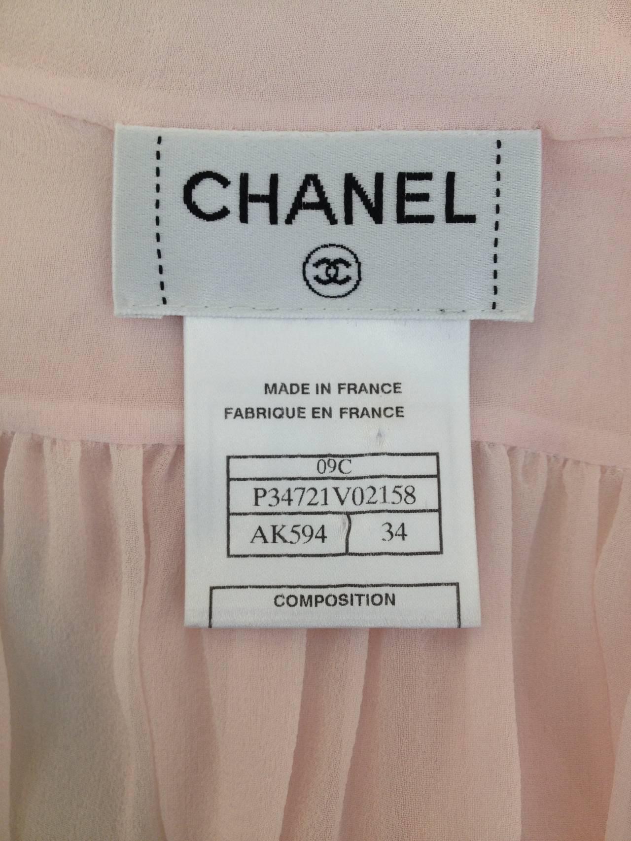 Chanel Baby Pink Chiffon Ruffled Blouse 8