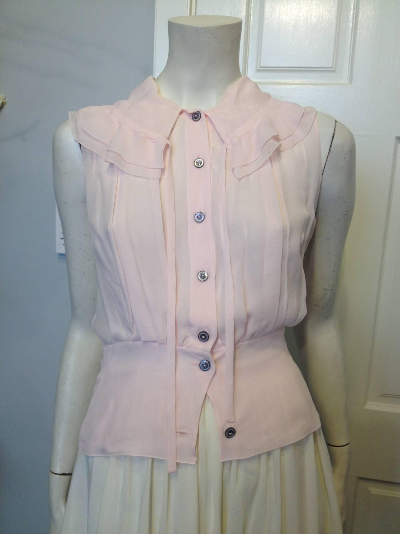 Chanel Baby Pink Chiffon Ruffled Blouse 2