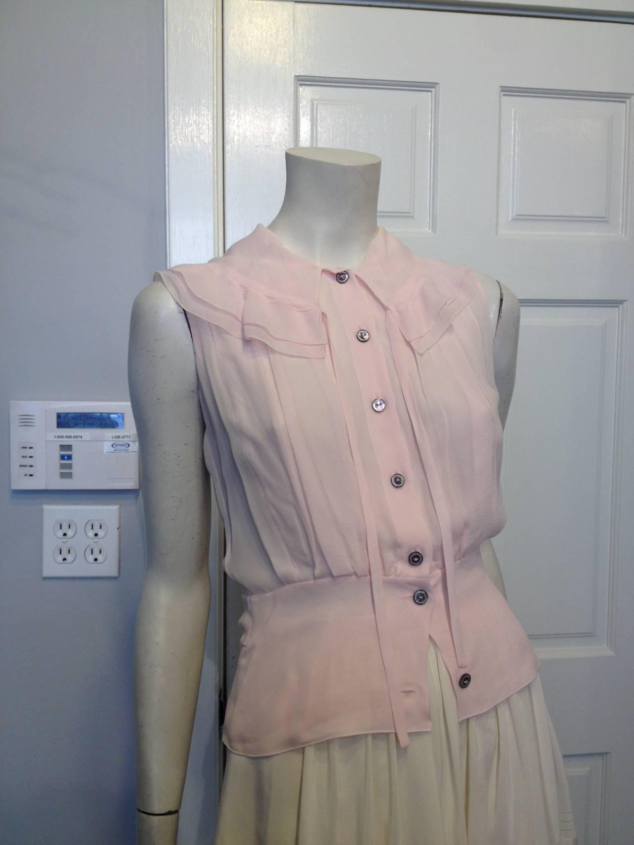Chanel Baby Pink Chiffon Ruffled Blouse 4