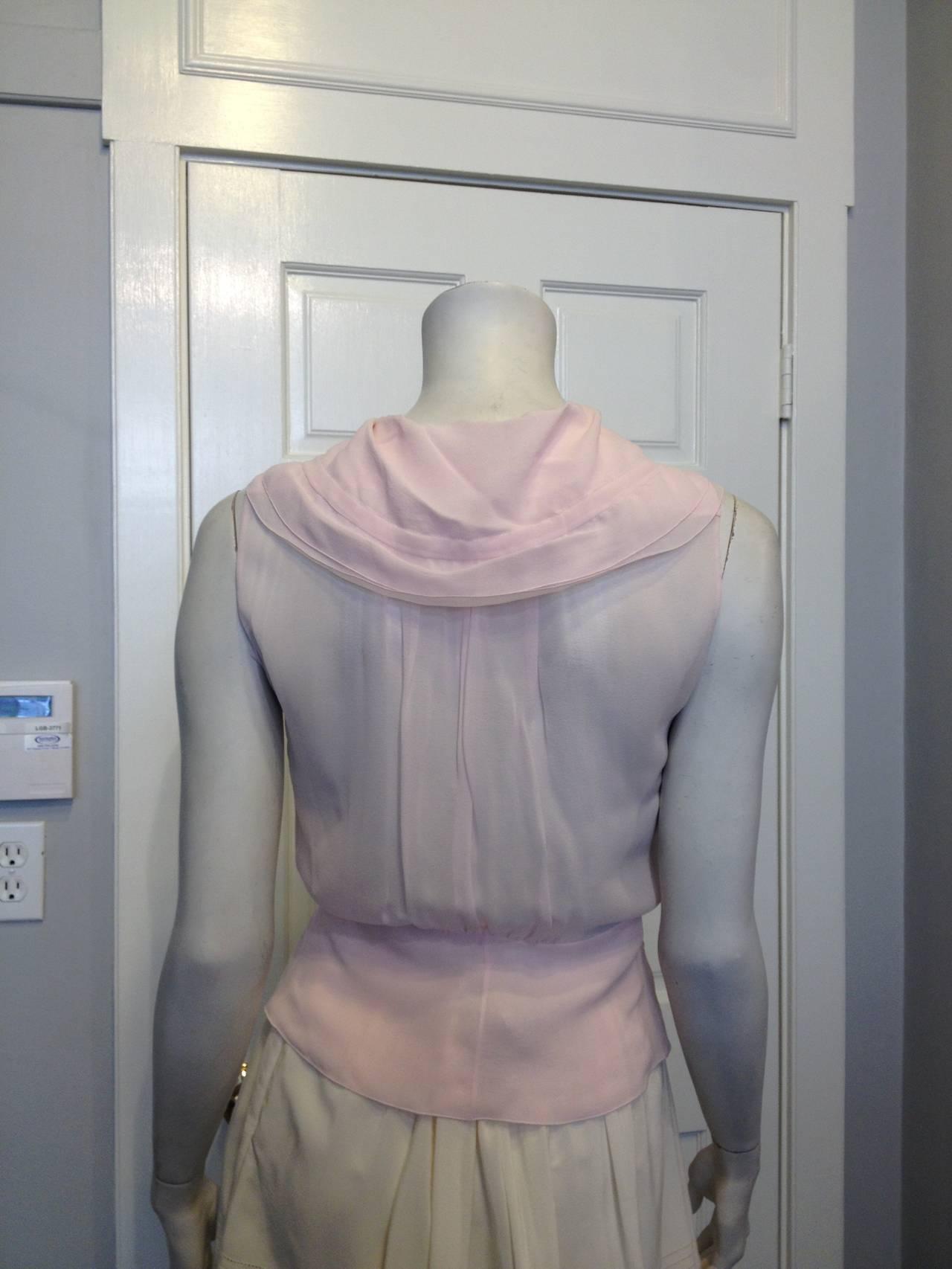 Chanel Baby Pink Chiffon Ruffled Blouse 5