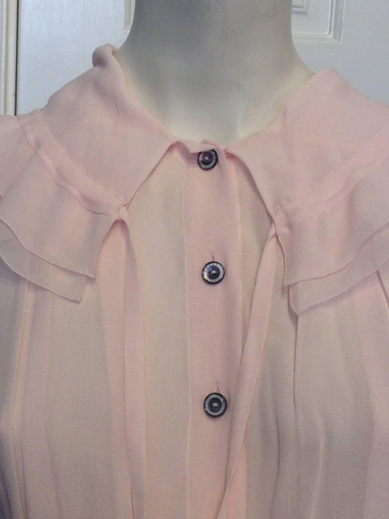 Chanel Baby Pink Chiffon Ruffled Blouse 6