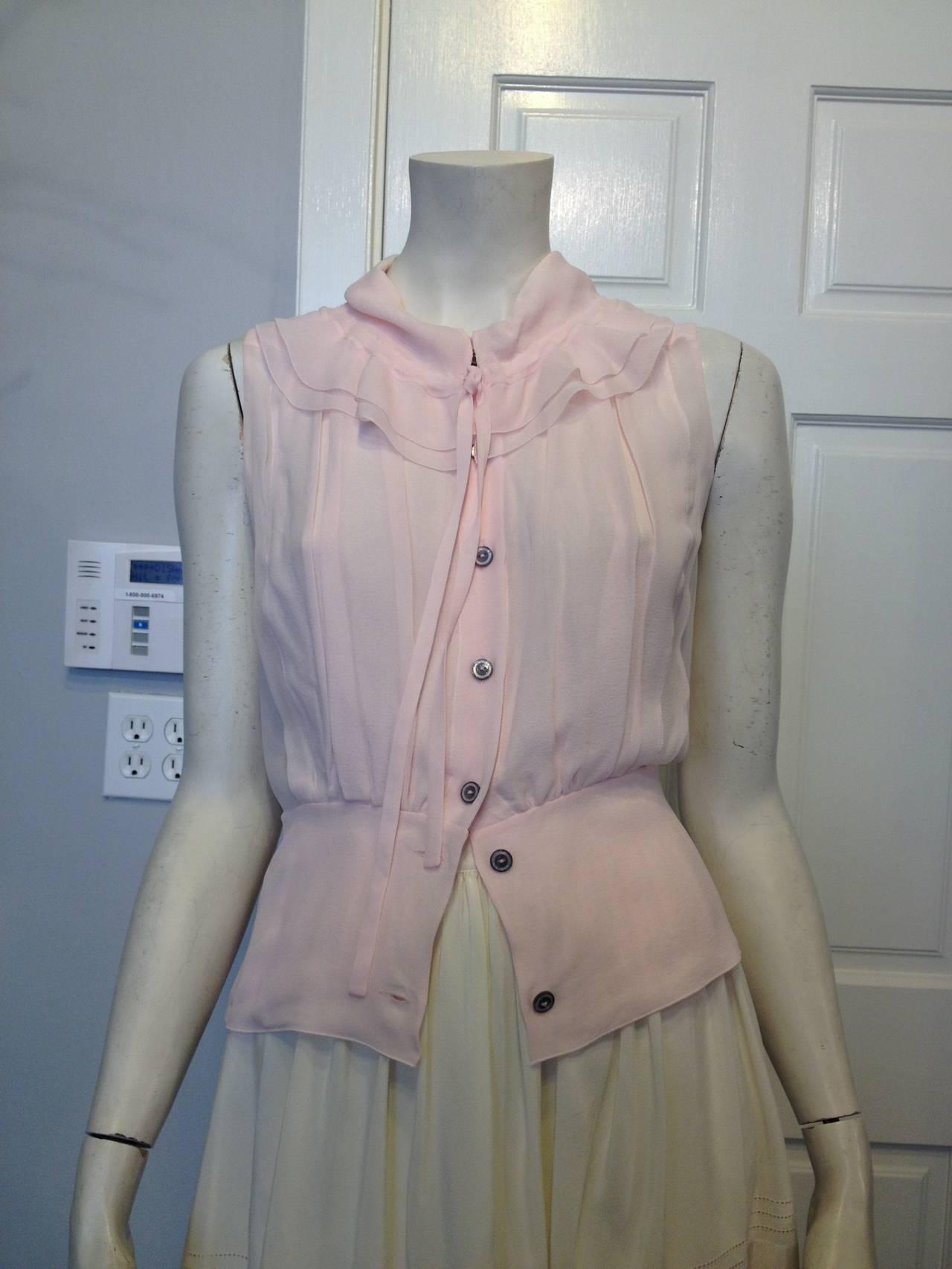 Chanel Baby Pink Chiffon Ruffled Blouse 3