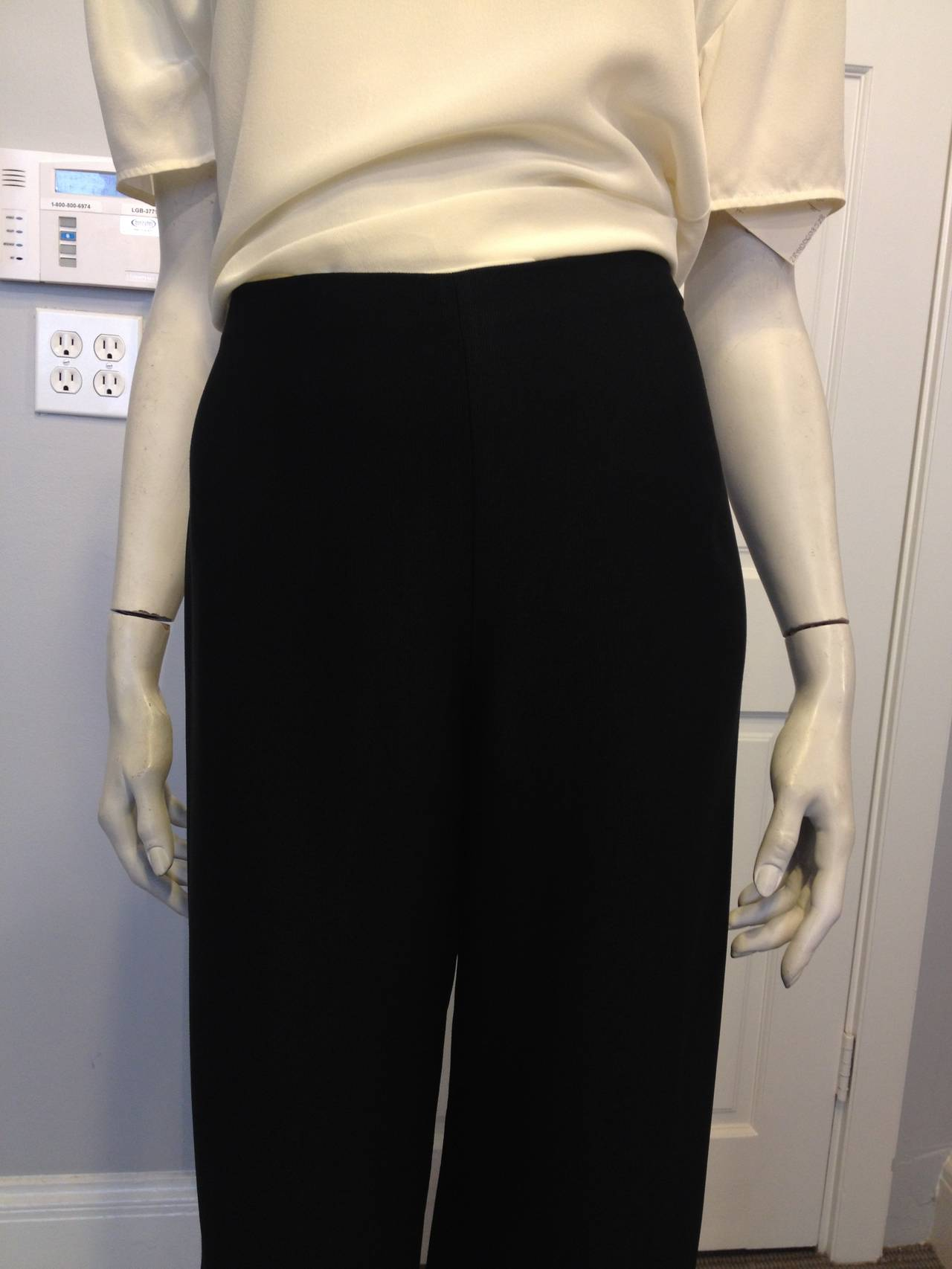 The Row Black Twill Wide-Leg Pants For Sale at 1stdibs