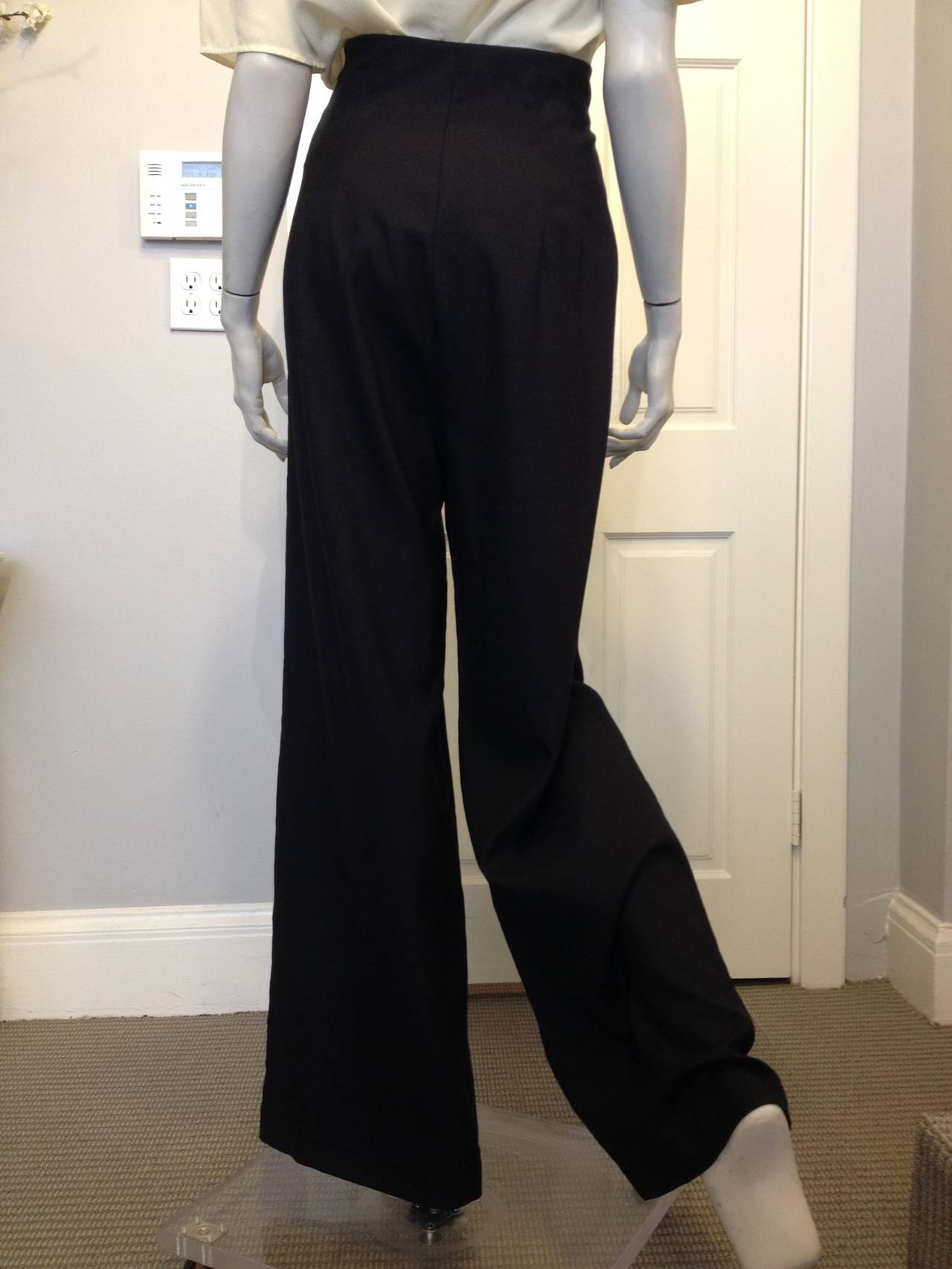 The Row Black Woven Wide-Leg Pants In New never worn Condition For Sale In San Francisco, CA