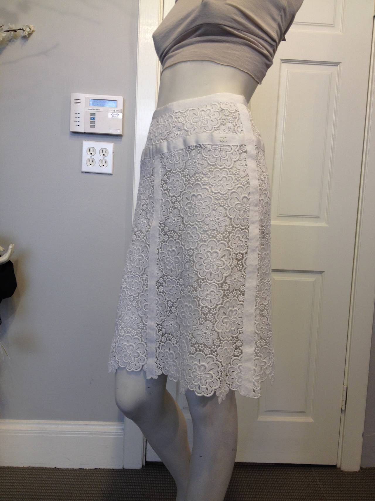 Chanel White Lace Skirt 2