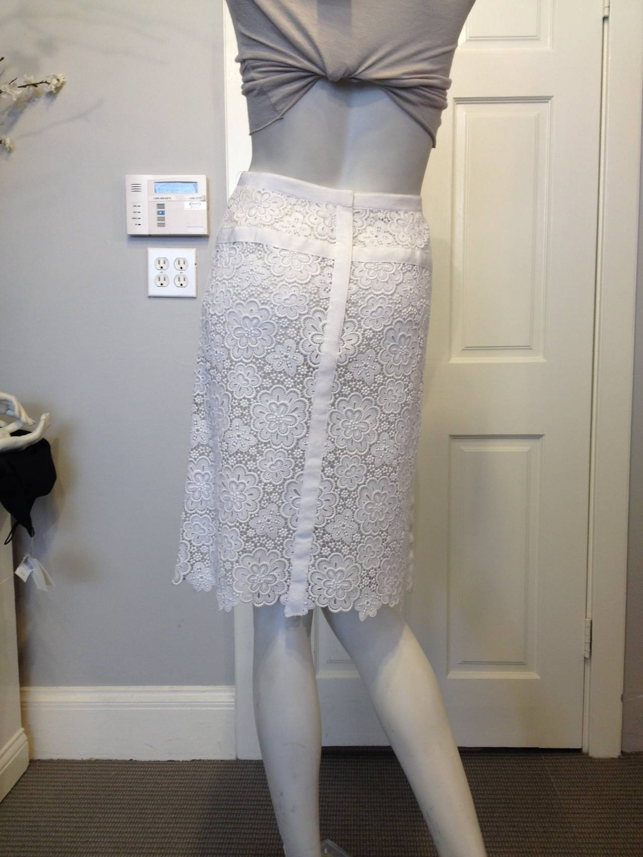 Chanel White Lace Skirt 4