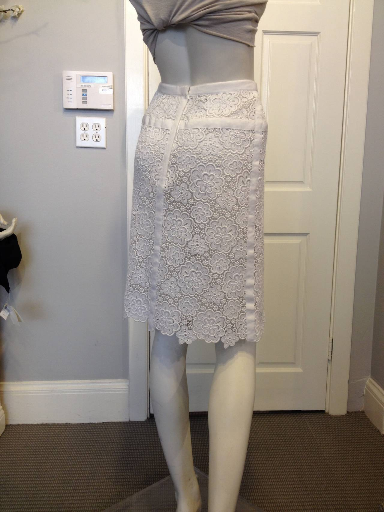 Chanel White Lace Skirt 3