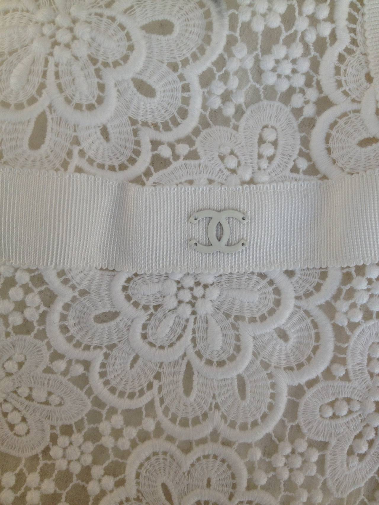 Chanel White Lace Skirt 6