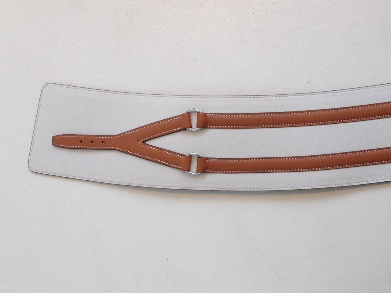 Hermes Cream and Cognac Leather Belt For Sale 1