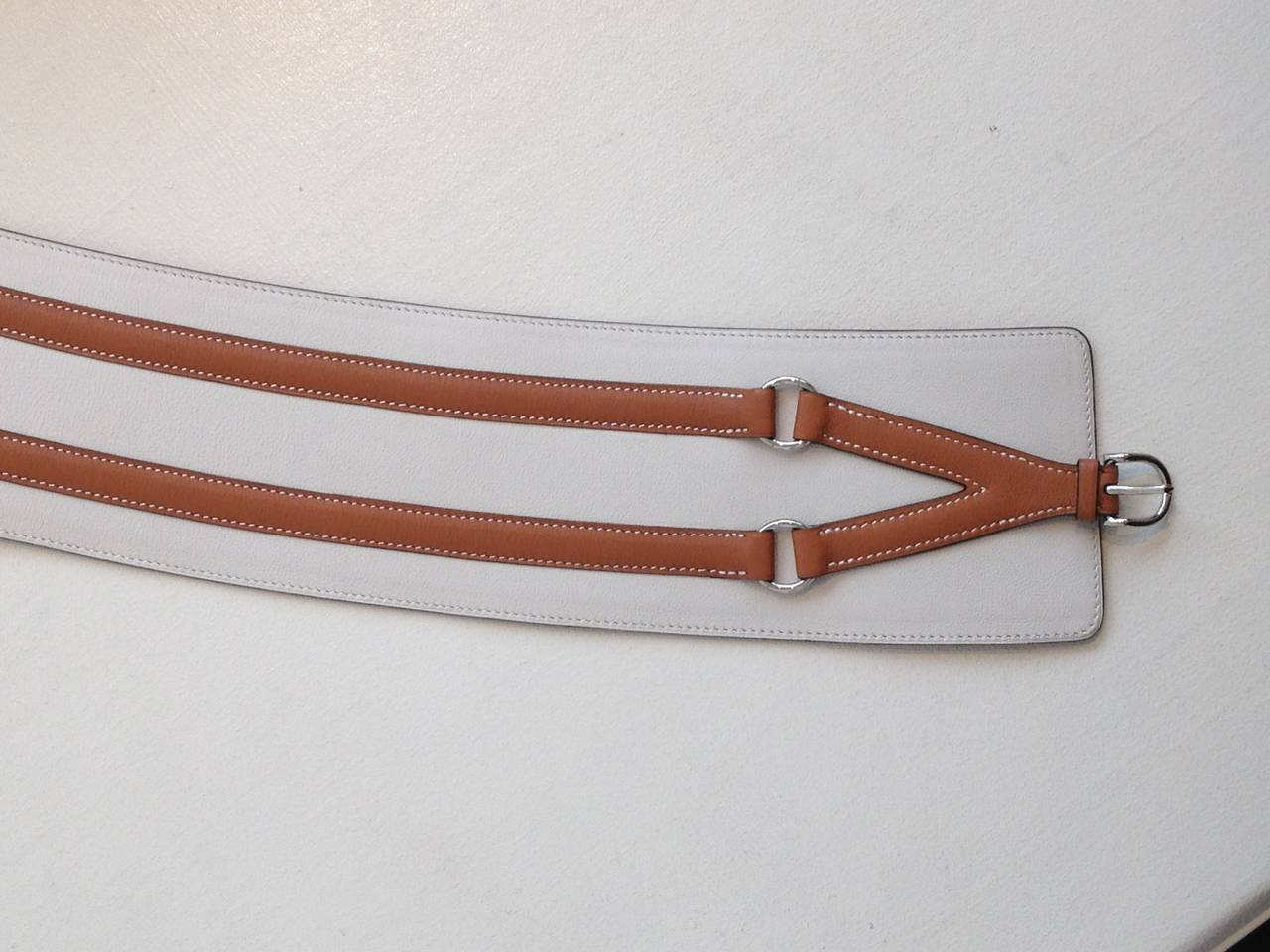 Hermes Cream and Cognac Leather Belt For Sale 2