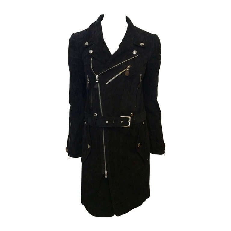 Phi Black Leather Motorcycle Coat 1