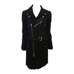 Phi Black Leather Motorcycle Coat
