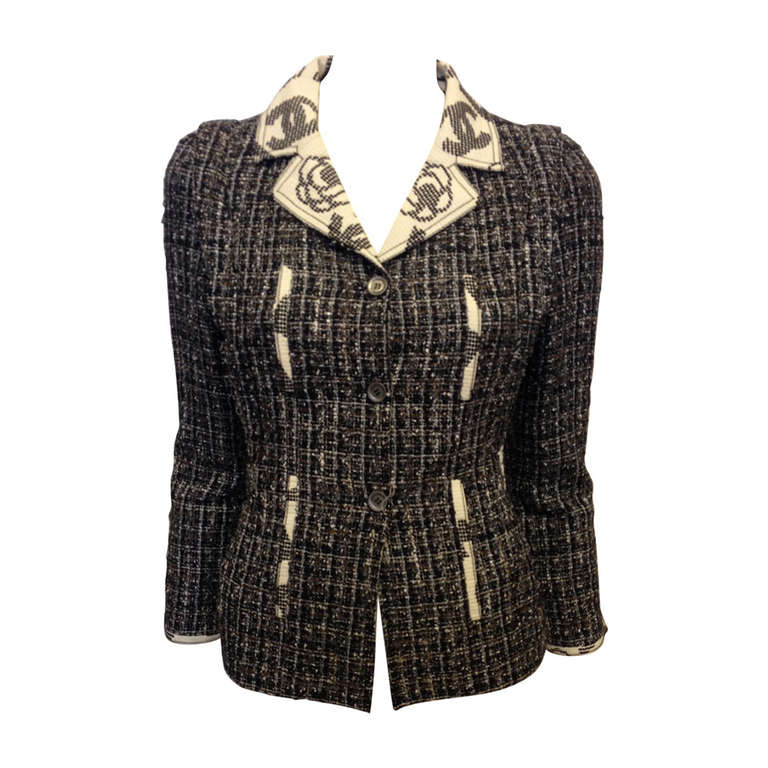Chanel Navy and Brown Tweed Jacket 1