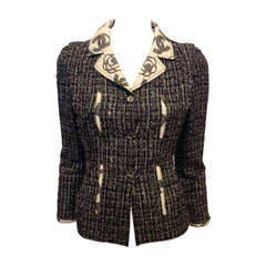 Chanel Navy and Brown Tweed Jacket