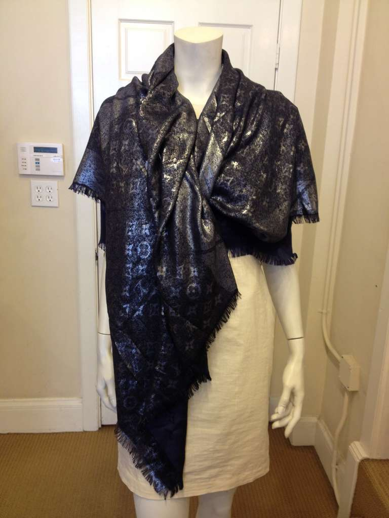 louis vuitton navy and silver monogram shawl at 1stdibs