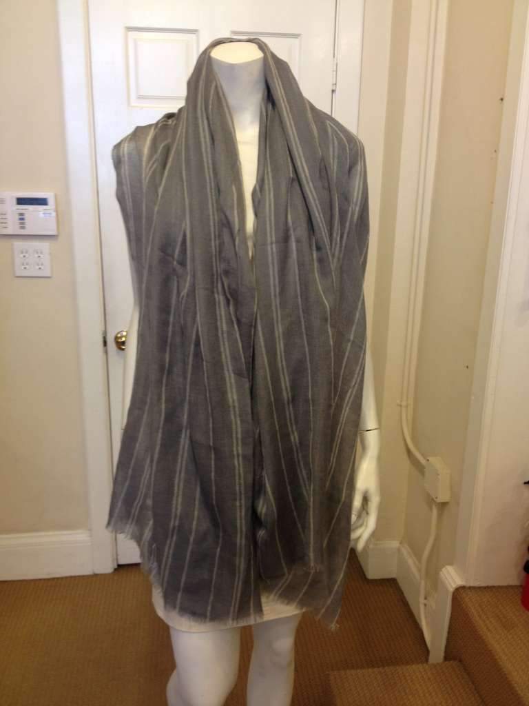 Denis Colomb Gray Cashmere Scarf 2