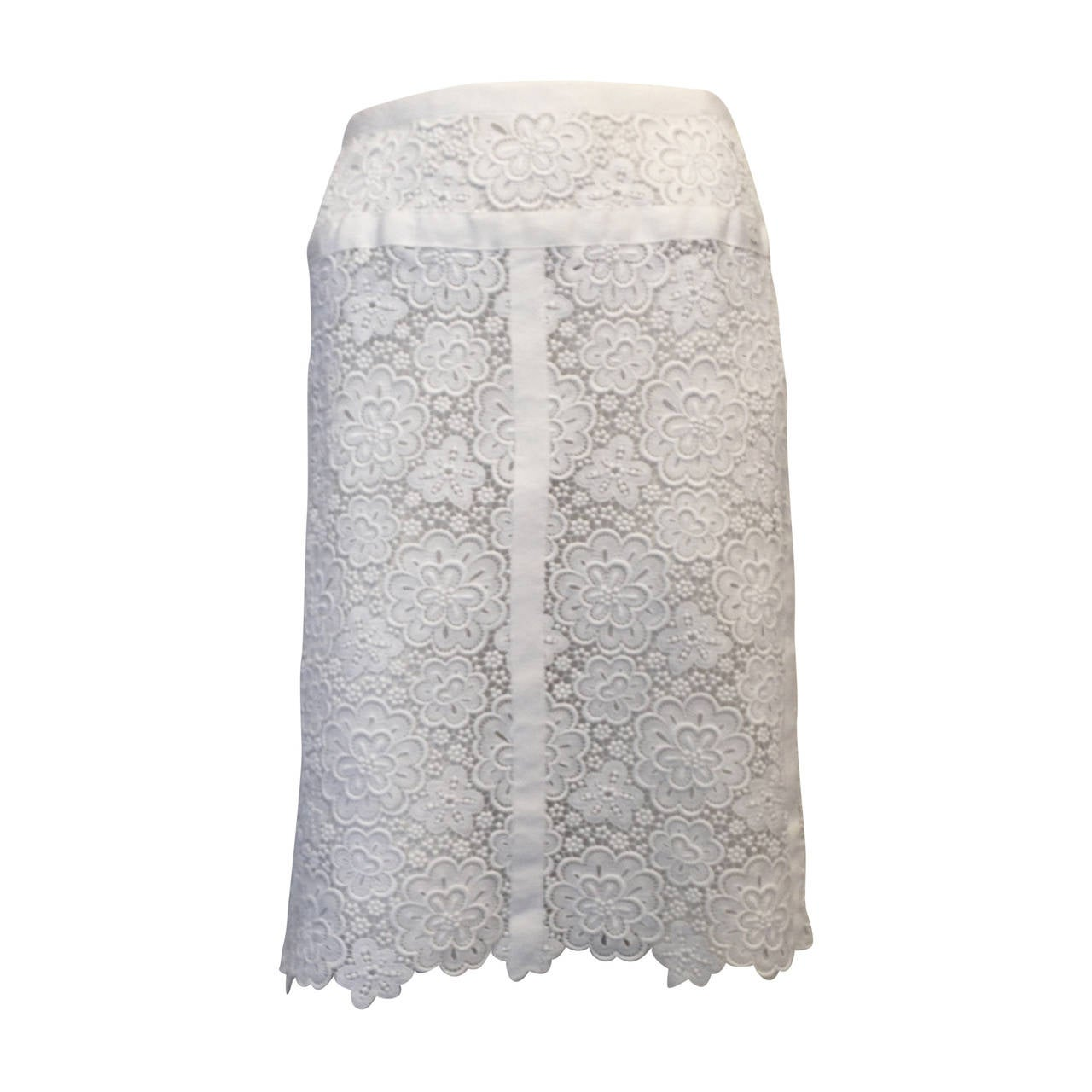 Chanel White Lace Skirt