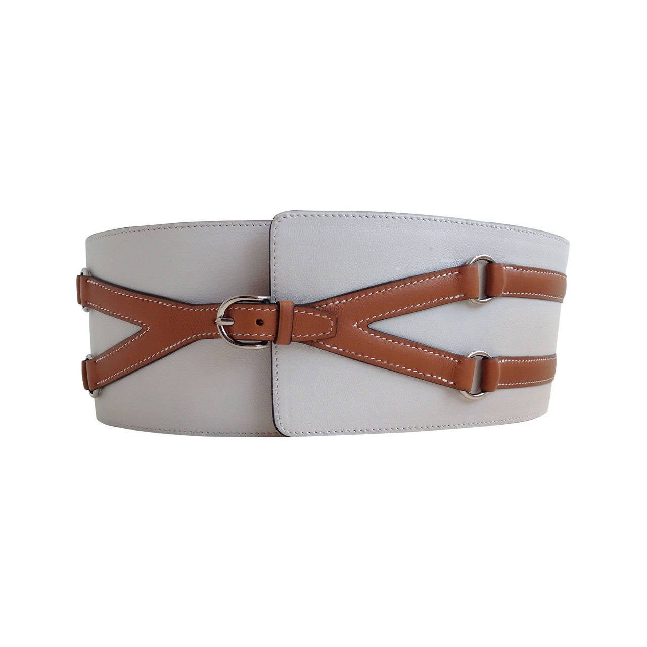 Hermes Cream and Cognac Leather Belt For Sale