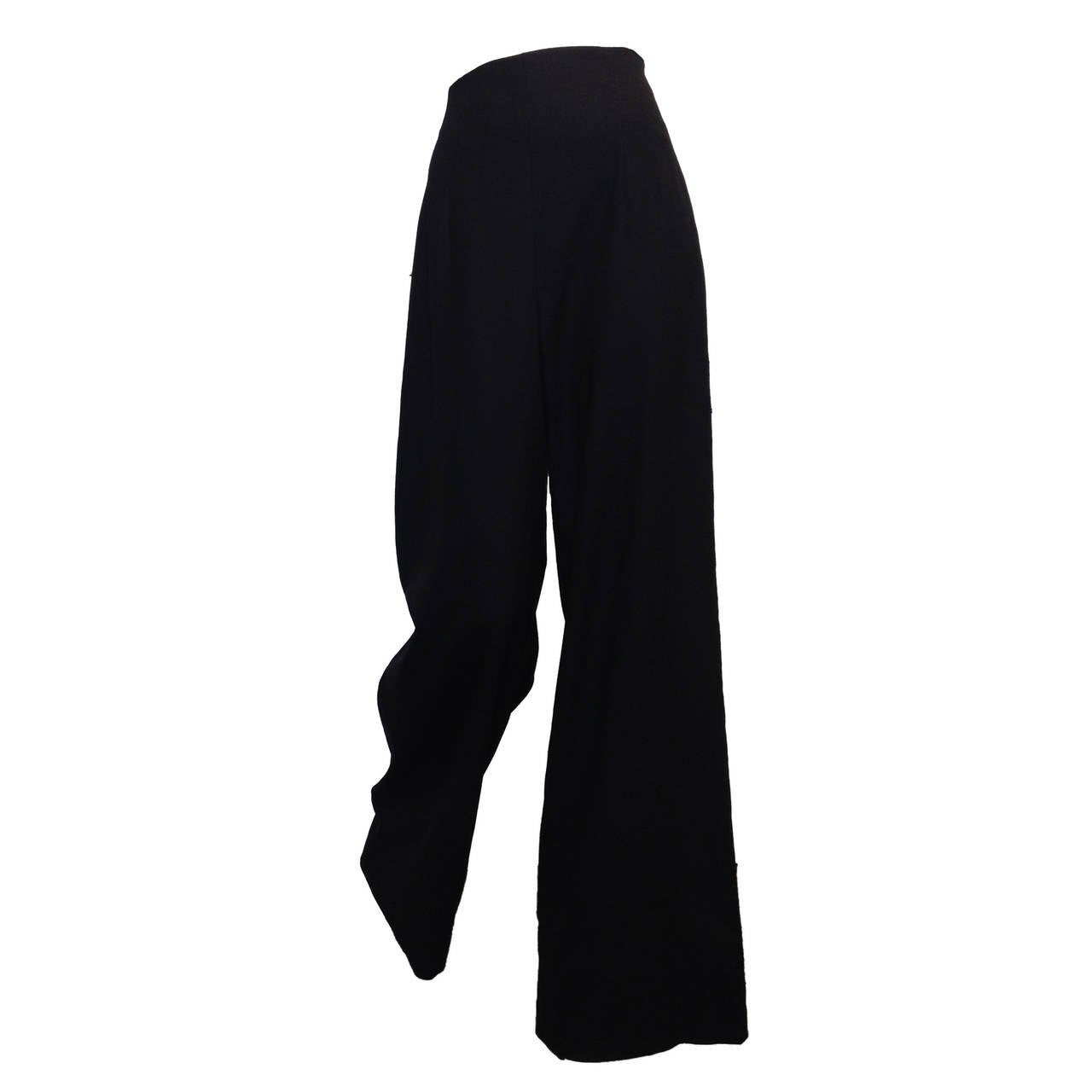 The Row Black Woven Wide-Leg Pants For Sale