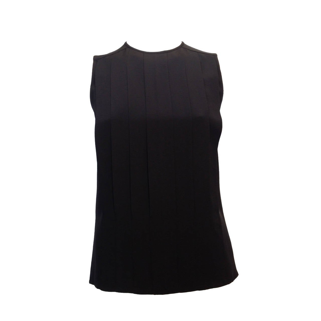 Chanel Black Silk Pleated Top 1