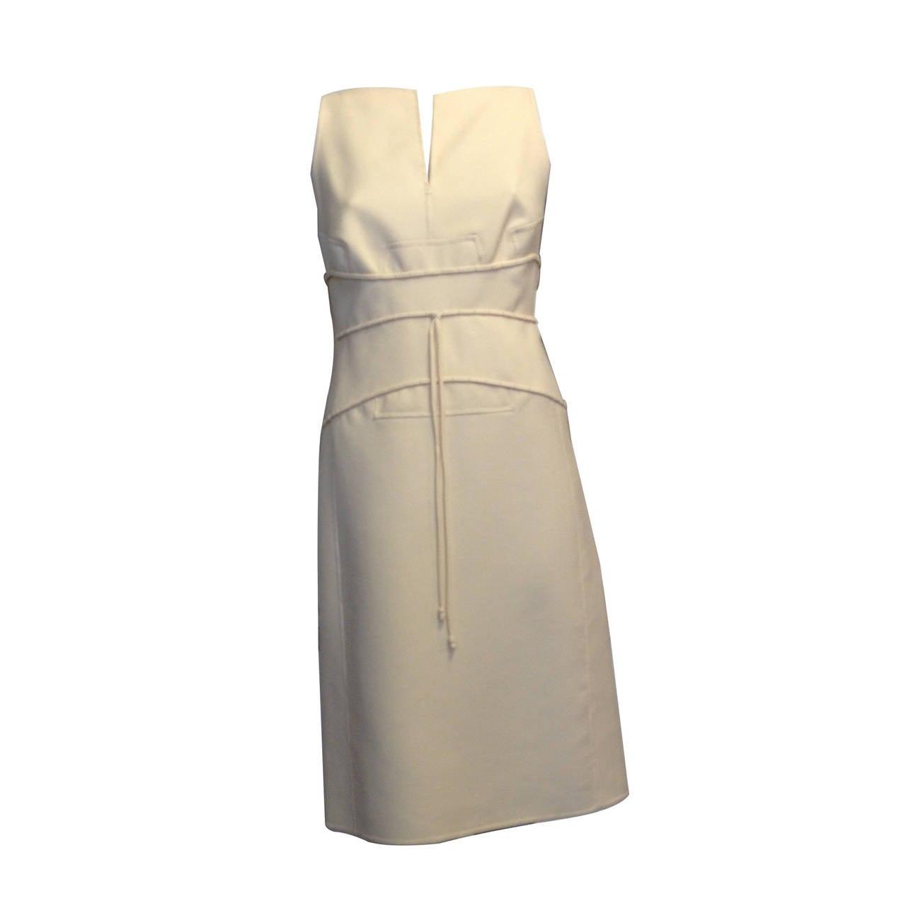 Chado Cream Sleeveless Dress