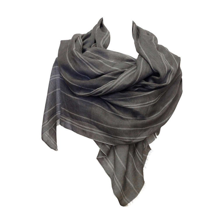 Denis Colomb Gray Cashmere Scarf 1