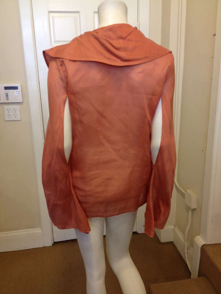 Gucci Coral Ruffled Blouse In Excellent Condition For Sale In San Francisco, CA