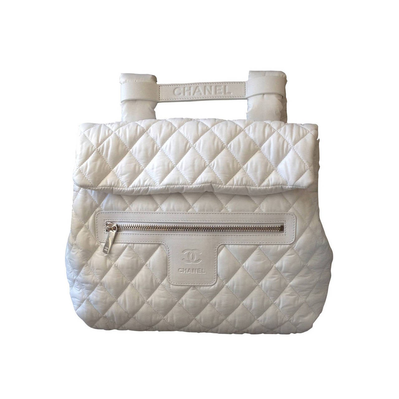 Chanel White Nylon Quilted Backpack 1