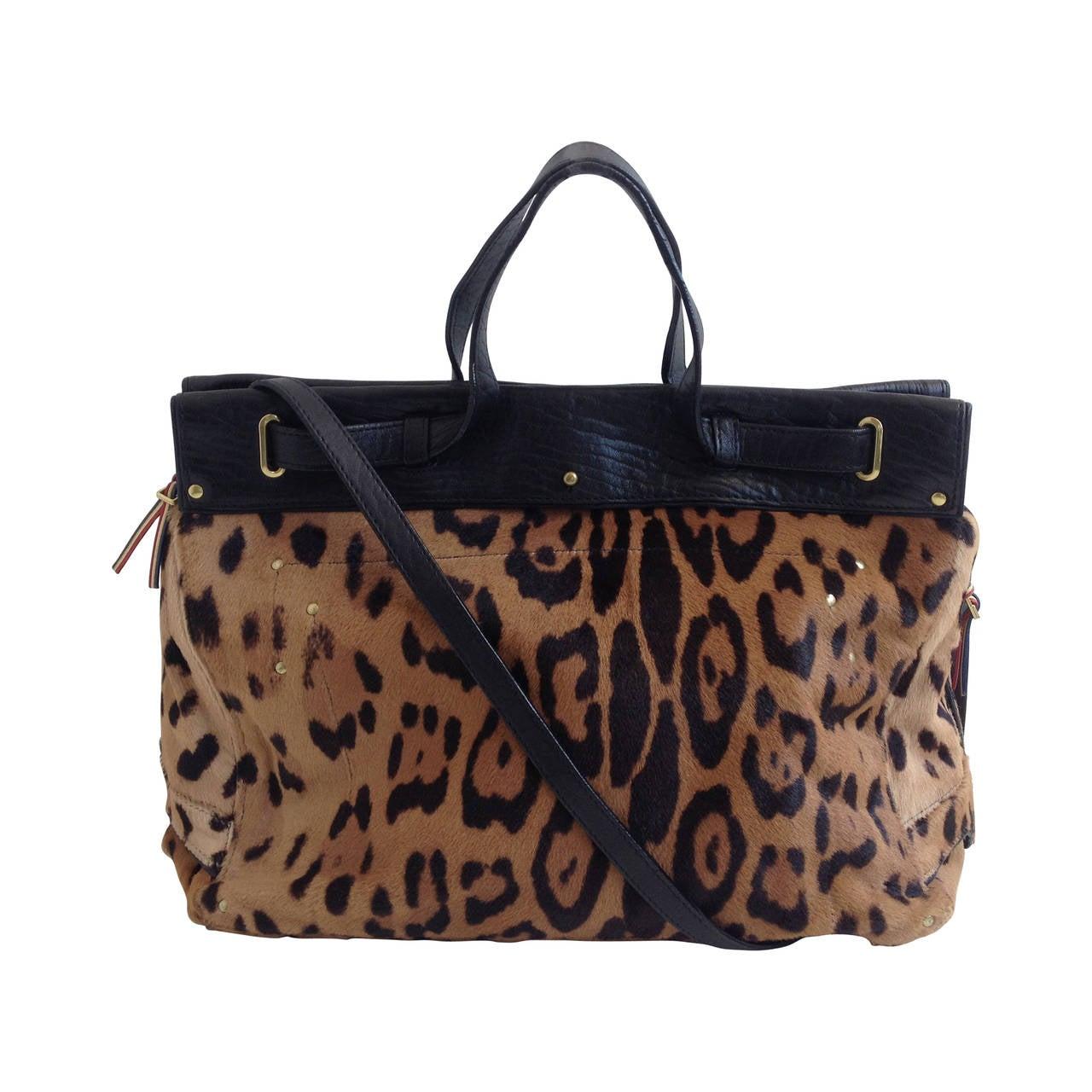 Jerome Dreyfuss Brown Leopard Pony Hair Carlos Handbag At