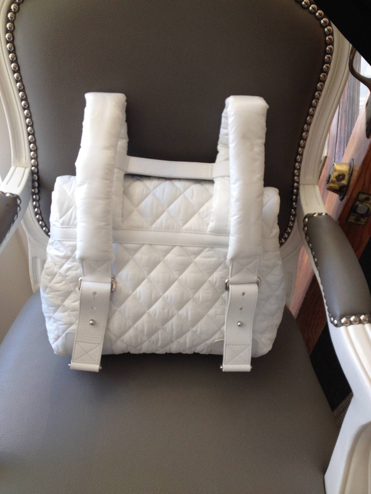 Chanel White Nylon Quilted Backpack 5
