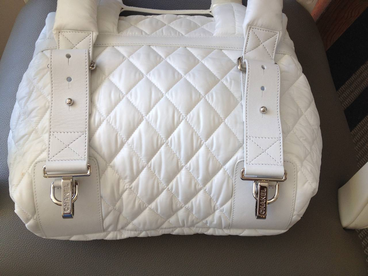 Chanel White Nylon Quilted Backpack 3