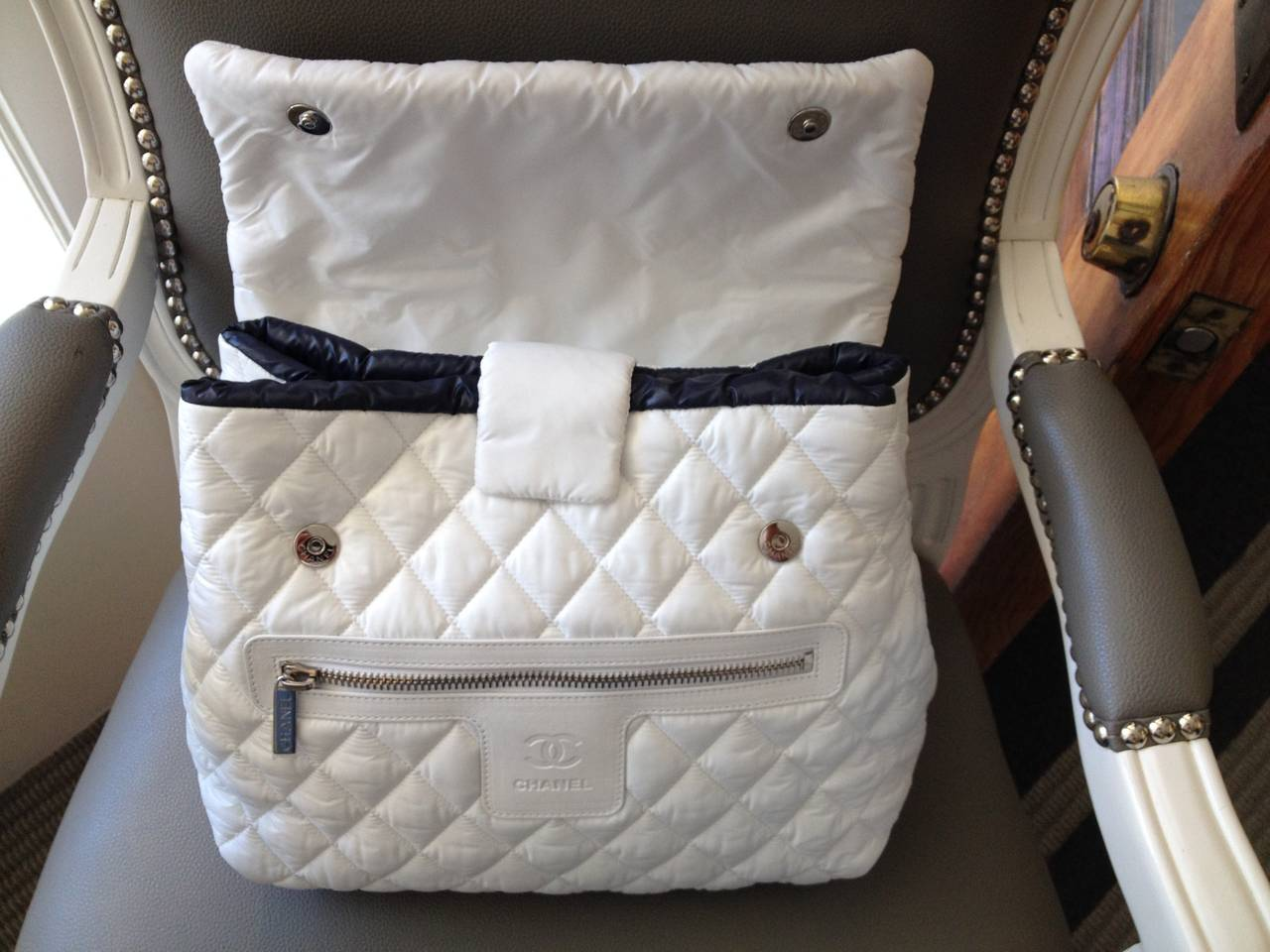 Chanel White Nylon Quilted Backpack 6