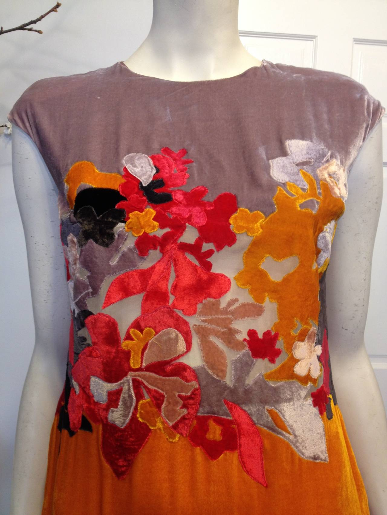 Bottega Veneta Lavender and Orange Cut Velvet Floral Dress 4