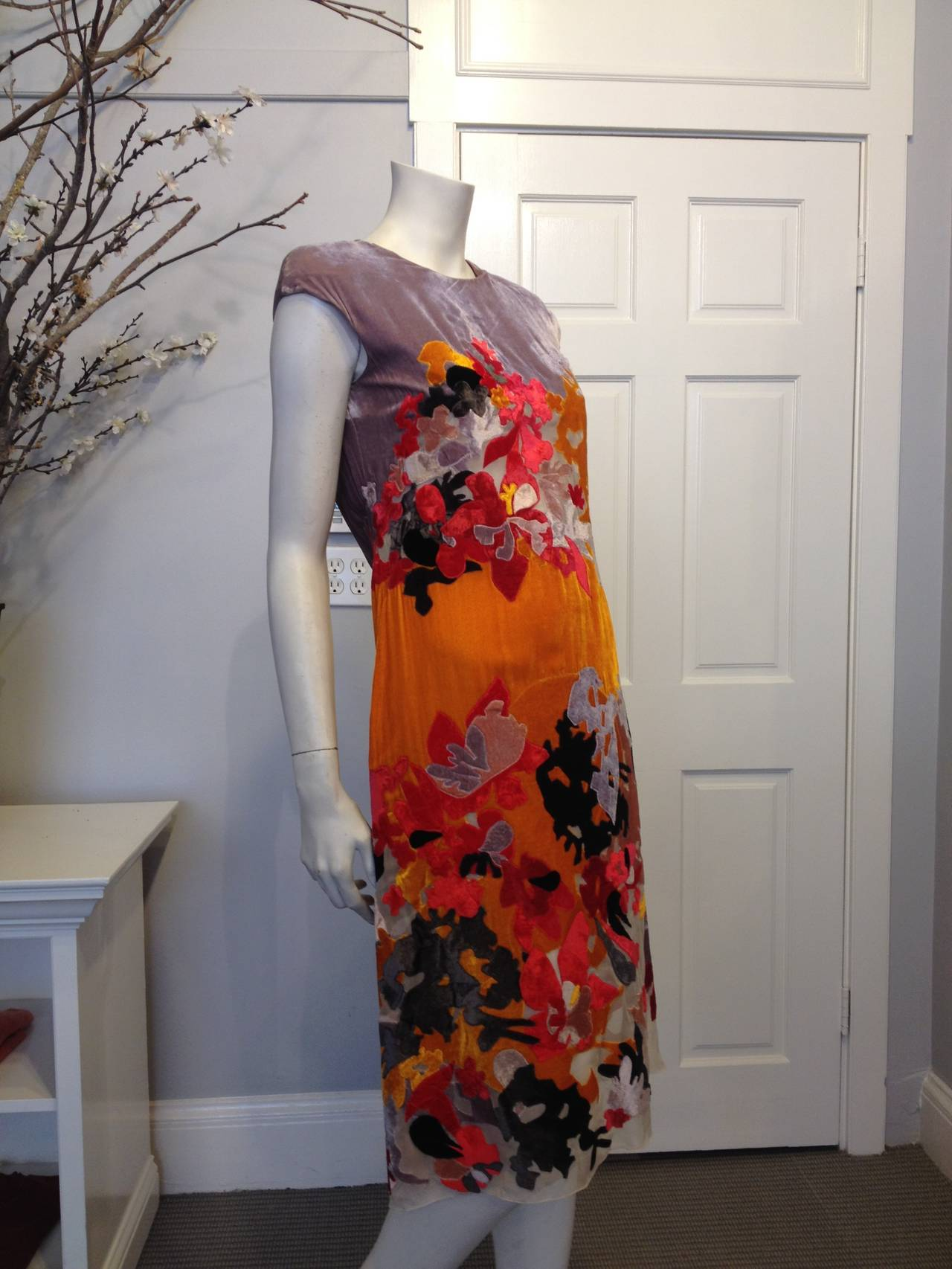 Bottega Veneta Lavender and Orange Cut Velvet Floral Dress 2