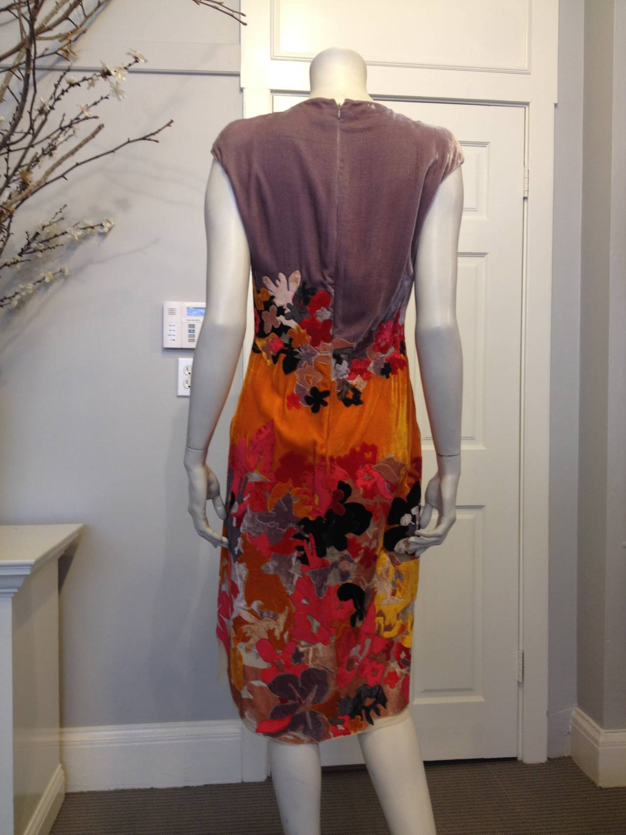 Bottega Veneta Lavender and Orange Cut Velvet Floral Dress 3