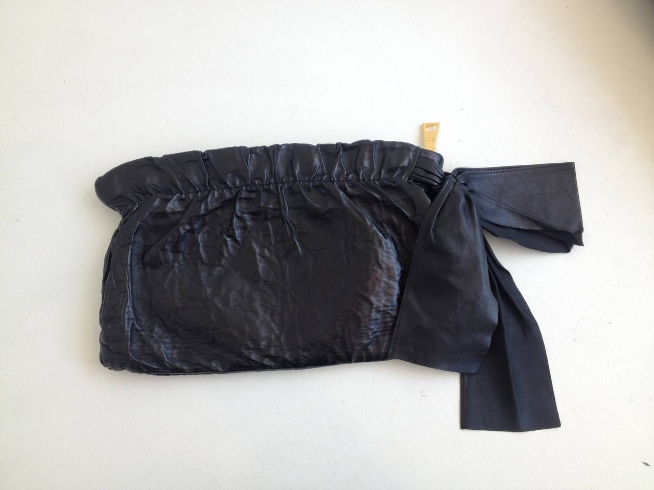 prada black purse leather - Prada Black Crinkly Leather Clutch with Bow For Sale at 1stdibs