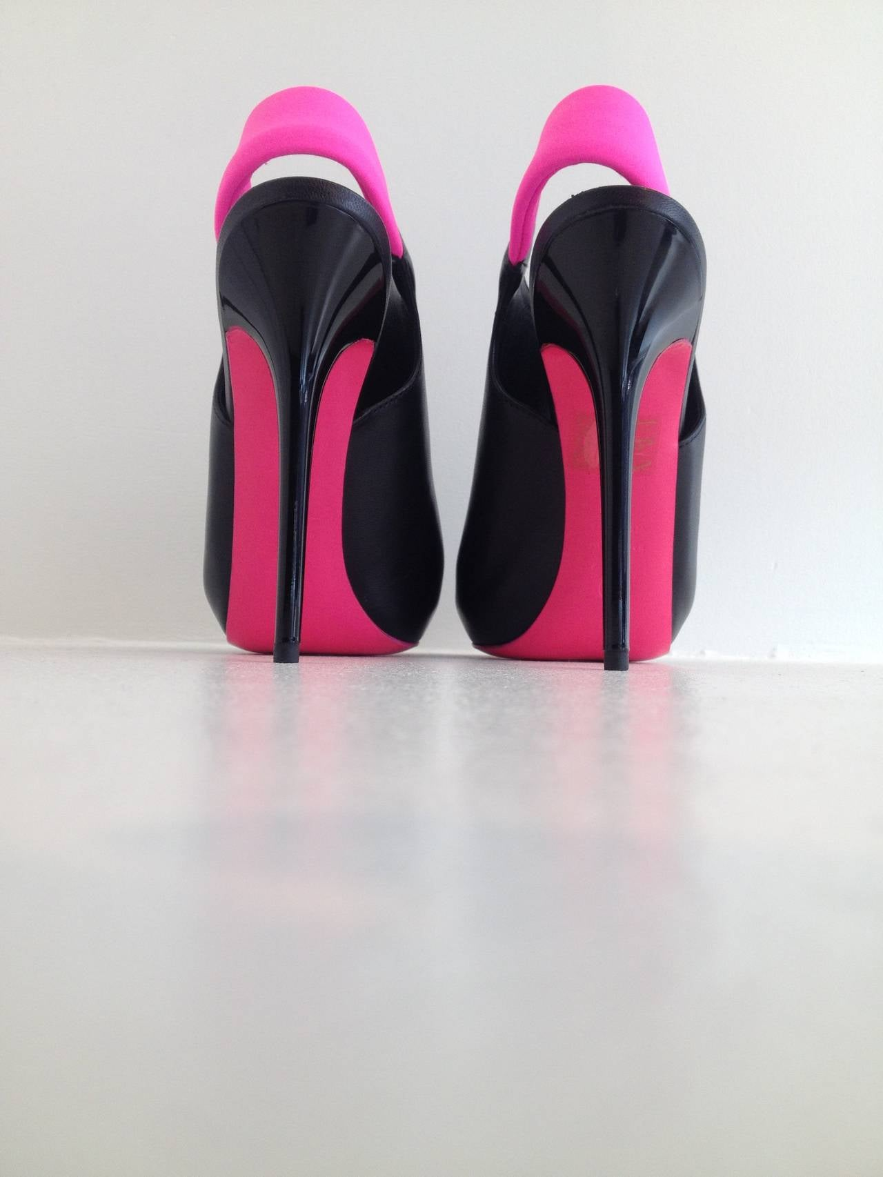 Alexander McQueen Black and Hot Pink Stiletto Booties For Sale 1