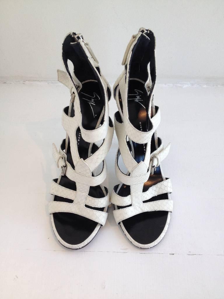 giuseppe zanotti white reptile cage heels at 1stdibs