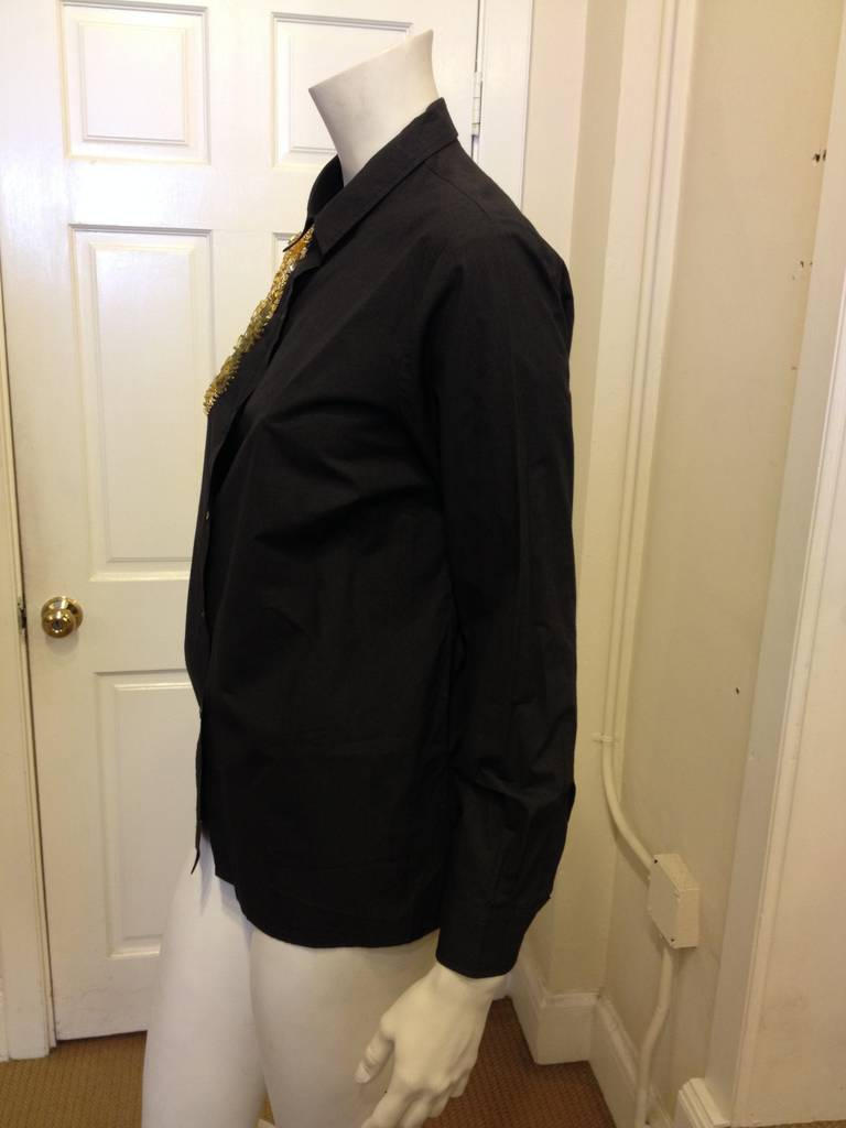 Dries Van Noten Black Embellished Shirt In Excellent Condition For Sale In San Francisco, CA