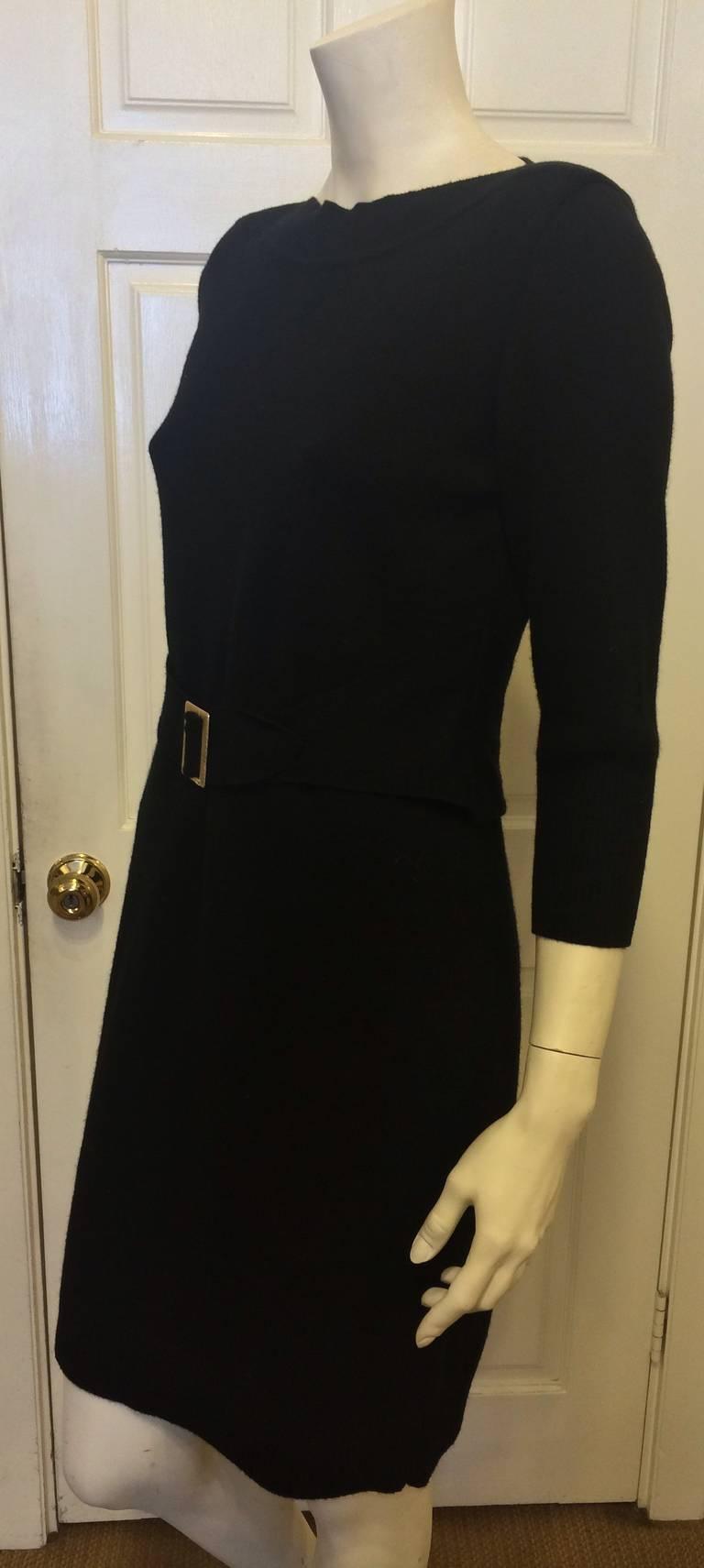 chanel black knit dress with gold belt at 1stdibs