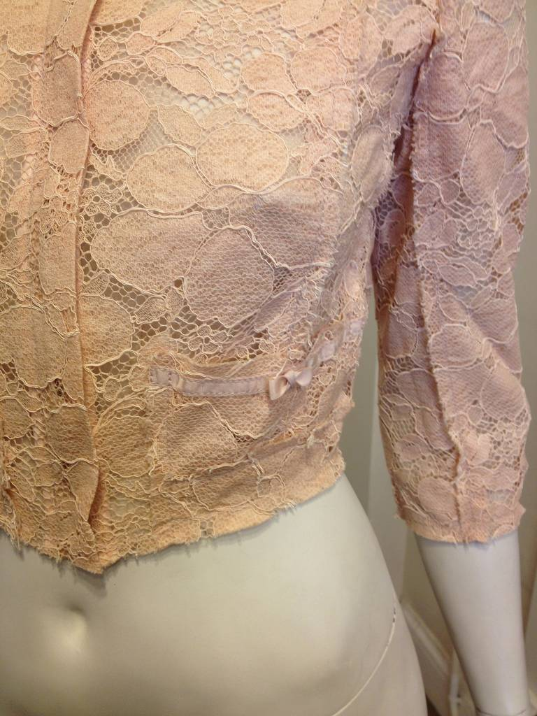 Nina Ricci Peach Lace Jacket 2
