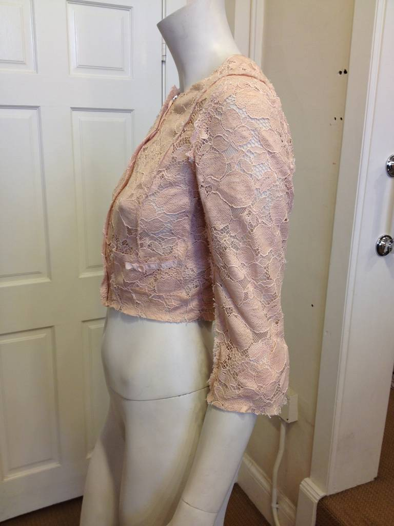 Nina Ricci Peach Lace Jacket 3