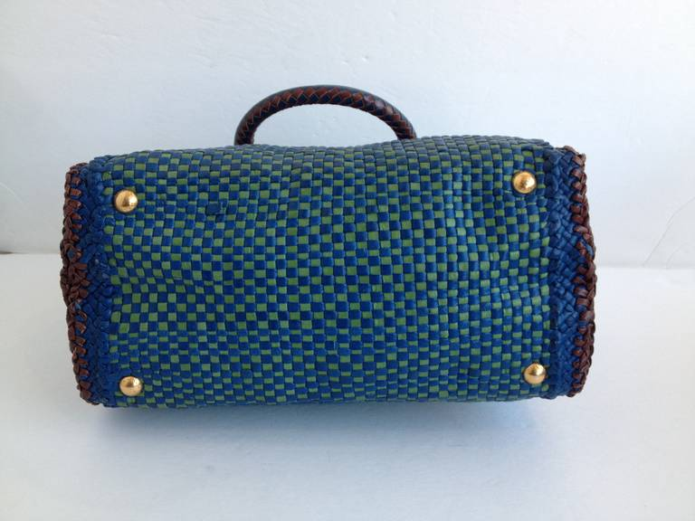 Prada Green and Blue Woven Limited Edition Purse at 1stdibs