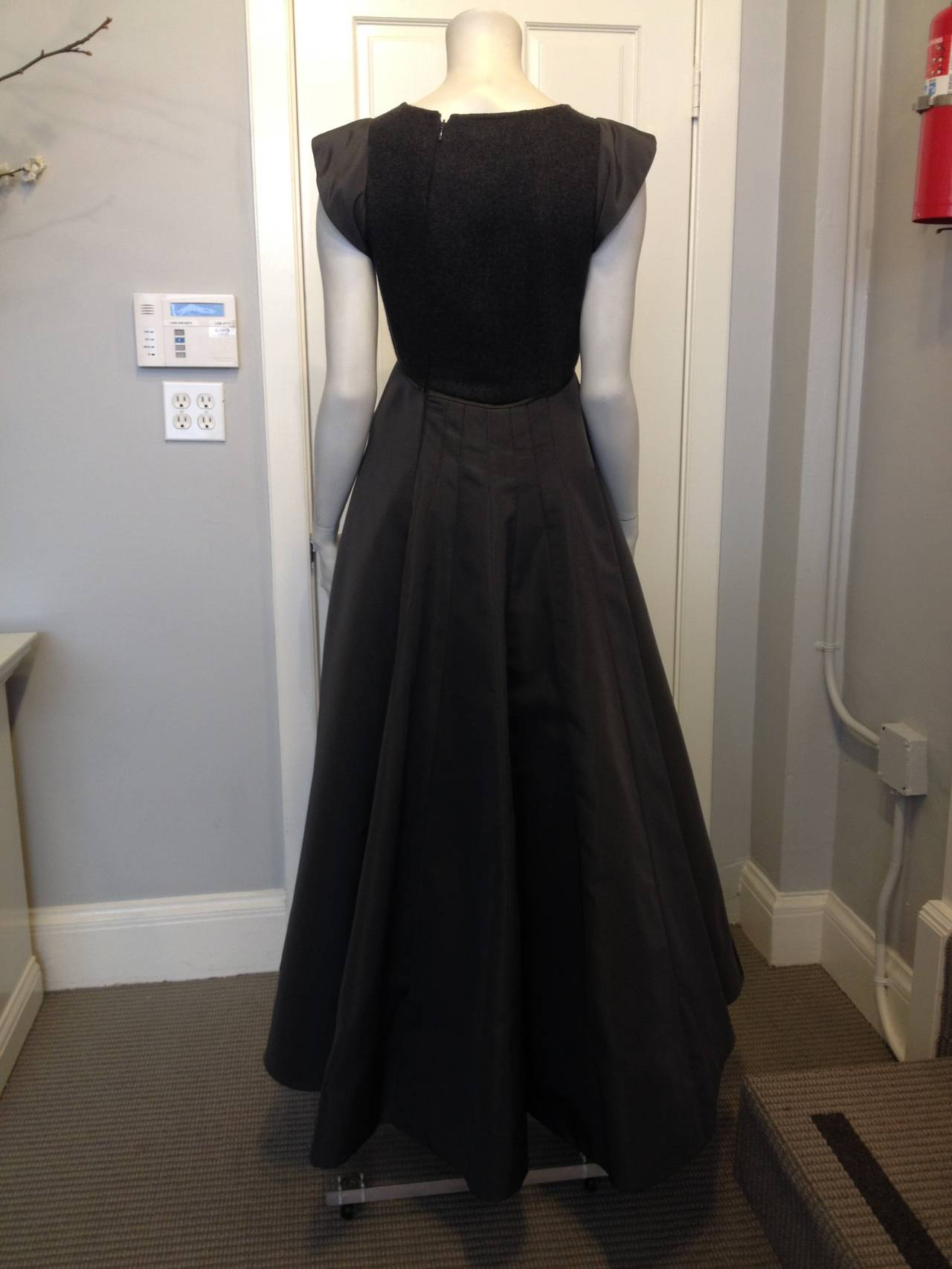 Black Chado Ralph Rucci Charcoal Cashmere and Silk Gown For Sale