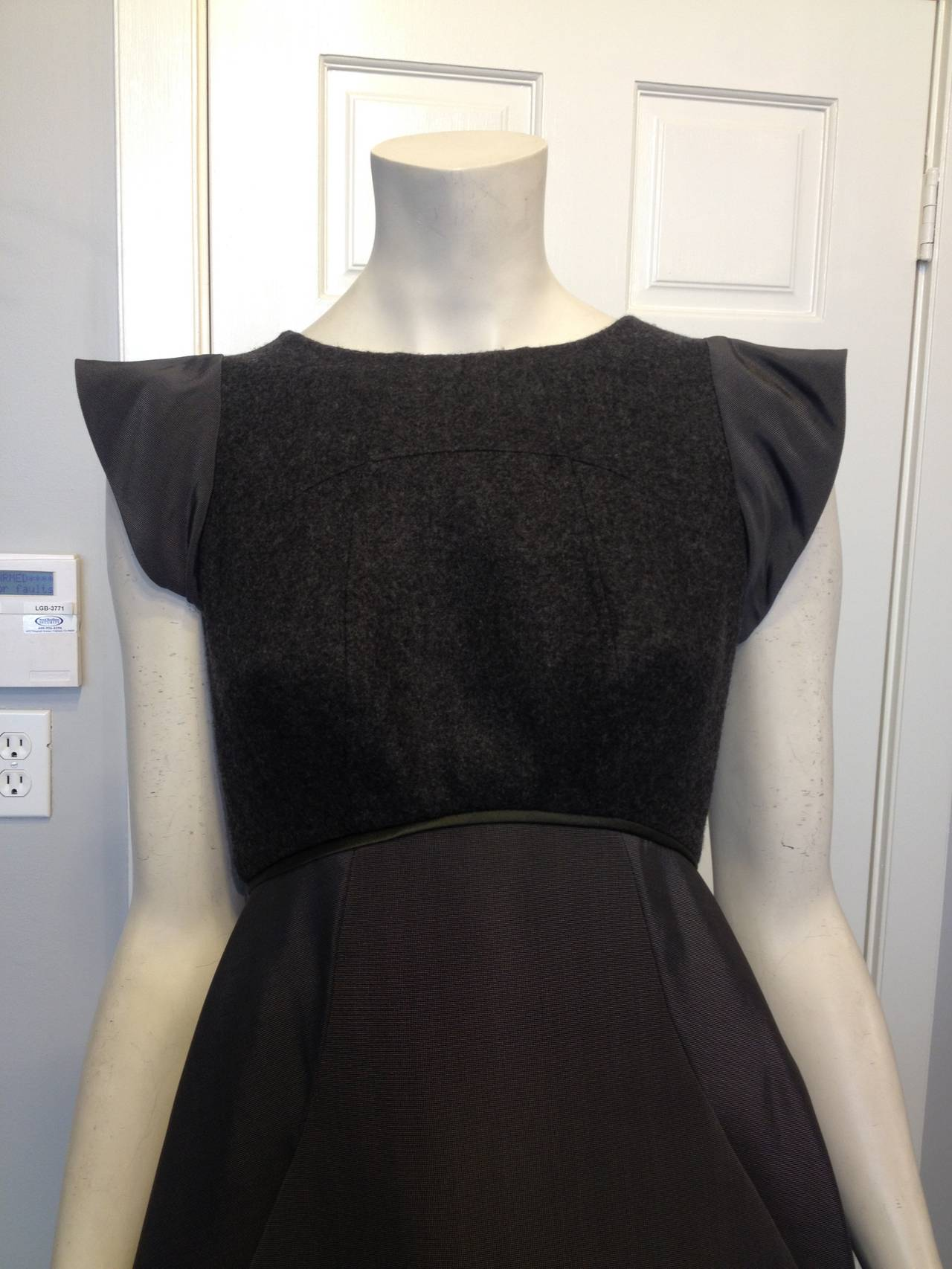 Chado Ralph Rucci Charcoal Cashmere and Silk Gown In Excellent Condition For Sale In San Francisco, CA