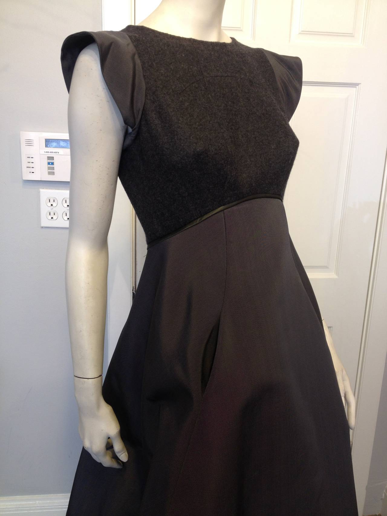 Women's Chado Ralph Rucci Charcoal Cashmere and Silk Gown For Sale